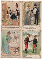 CHROMO RICQLES Lot De 4 Litho Dessin Illustrateur Guillaume - Trade Cards