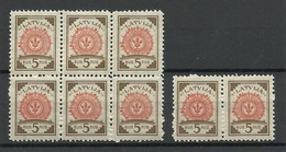 LATVIA Lettland 1921 Michel 31 As 6-block + Pair MNH - Lettland