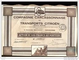 TITRE LT1--,CITROEN, Aude, Carcassonne, Compagnie Carcassonnaise Des Transports Citroen RARE 800 Ex - Automobile