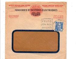 DAGUIN SUR LETTRE A EN TETE DE FEURS LOIRE 1952 - Postmark Collection (Covers)