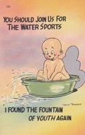 """COMIC; 1930-40s; Baby In Washtub, """"I Found The Fountain Of Youth Again"""" - Humorous Cards"""