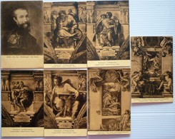 LOT OF 7 DIFFERENT OLD POSTCARDS - MICHELANGELO , ALL UNUSED - Postkaarten
