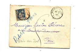 Lettre Cachet Malzieu Ville Sur Sage Avec Bande Centre + Pont L'eveque + Paris + Marque Facteur Rayé - Marcophilie (Lettres)