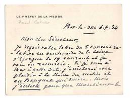 Raoul Catusse.  Préfet De A Meuse. Cdv. Bar Le Duc 1934. Adressé Au Sénateur Chevalier. Voir Texte - Autographes