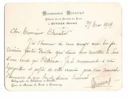 Monseigneur MICAULT. Prélat De La Maison Du Pape à EUVILLE (Meuse). Cdv Gd Format 1919 - Autographes