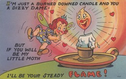 """COMIC; 1930-40s; Girl And Candle, """"If You Will Be My Little Moth, I'll Be Your Steady Flame!"""" - Comics"""