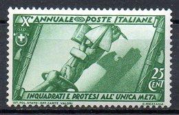 ITALIE (Royaume) - 1932 - N° 309 - 25 C. Vert - (Tendus Vers Un Même But) - Nuovi