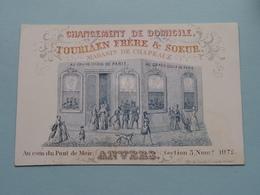 TOURIAEN Frère & Soeur ( Magasin De Chapeau ) Pont Du Meir ANVERS ( Porcelein / Porcelaine ) Formaat +/- 10,5 X 7 Cm - Cartes De Visite