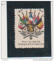 France WWI 1914-1915 Seven Allied Flags Vignette Military Heritage Poster Stamp - Military Heritage
