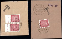 1963/64: 2 Fragments De Lettre Taxes III, Cachets Clervaux Et Luxembourg , Michel 2019: 30,31,33 - Postage Due