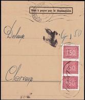 1962: Fragment De Lettre Taxes III, Cachet Luxembourg-Ville, Michel 2019: 3x31 - Postage Due