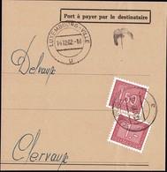 1962: Fragment De Lettre Taxes III, Cachet Luxembourg-Ville 14.12.1962, Michel 2019: 30,31 - Postage Due