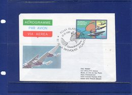 ##(DAN193)-1980-Aerogramma L.220   50°Trasvolata Atlantica,viaggiato Per Il  Brasile, Bolli Di Arrivo Al Retro - 6. 1946-.. Repubblica