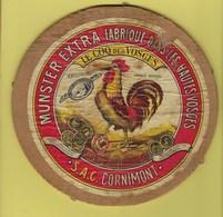 """Ancienne Etiquette Fromage Munster Extra """"le Coq Des Vosges"""" 45%mg S.A.C.Cornimont Vosges 88 - Cheese"""