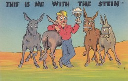 """COMIC; 1930-40s; """"This Is Me With The Stein"""", Man Holding Stein Posing With Donkeys - Comics"""