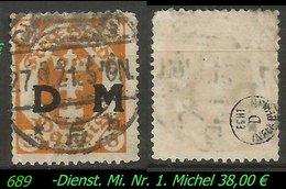 Dienstmarke - Mi. Nr. 1 - Geprüft - DANZIG 5 B - Danzig