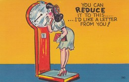"""COMIC; 1930-40s; """"You Can Reduce It To This.....I'd Like A Letter From You!"""", Woman On Scale - Comics"""