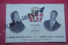 Carton Souvenir Du Mariage De La Princesse Margherita D'aoste Et De L'archiduc Robert De Hasbourg  Brou 1953 - Visiting Cards