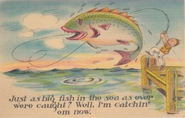 """COMIC; 1930-40s; """"Just As Big Fish In The Sea As Ever Were Caught? Well I'm Catching Em Now."""", Man Fishing - Comics"""