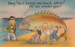 """COMIC; 1930-40s; """"Boy! Do I Bring 'em Back Alive! I'll Be Seein' Yer!"""", Men Carrying Fish To Water - Comics"""