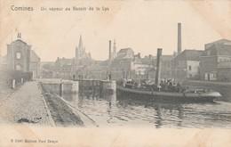 Comines , Un Vapeur Au Bassin De La Lys ( Péniche , écluse , Remorqueur ) - Comines-Warneton - Komen-Waasten