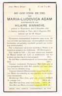 DP Maria L. Adam 30j. ° Wijtschate Heuvelland 1910 † Ieper 1941 X Hilaire Sinnaeve - Imágenes Religiosas