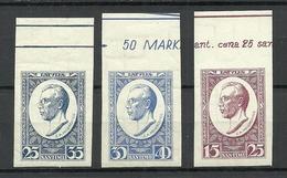LETTLAND Latvia 1929 Michel 146 - 148 B MNH Incl Margin Bogenrandinschriften - Lettland
