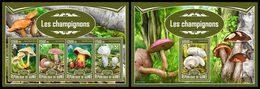 GUINEA 2017 - Mushrooms - Mi 12411-4 + B2778; CV=40 € - Guinea (1958-...)