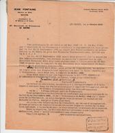 Jean FONTAINE Notaire à Veuve LECONTE  LE HAVRE 1946 - Autres