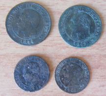France - 4 Monnaies Napoléon III : 1 Ct - 1855 D (tête De Chien), 1862 A - Et 2 Cts 1854 A Et 1862 K - B / TB à TTB+ - Collections