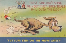 """COMIC; 1930-40s; Dog With Cans Tied To Tail, """"I've Sure Been On The Move Lately"""" - Comics"""