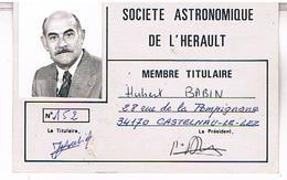 34  CASTELNAU LE LEZ   SOCIETE ASTRONOMIQUE   CARTE  DE MEMBRE  TBE     HE764 - Castelnau Le Lez