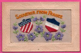 Cp Brodée - Souvenir From France - Etats Unis - Fleurs - Broderie - Edit. TARARE - Brodées