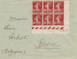SEMEUSE N°360 BLOC De 6 COIN DATÉ Sur Lettre Pour BOOM Belgique - Obl 1/1/38 - 1906-38 Semeuse Camée