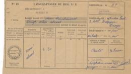 LAISSEZ-PASSER DU REG. N°3 Pour 2 BOMBONNES De 20l D' ALCOOL - LES NOËS LOIRE  1961 - Documentos Históricos