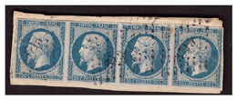 N° 14B En Bande De 4 Sur Petit Fragment - 1862 Napoléon III