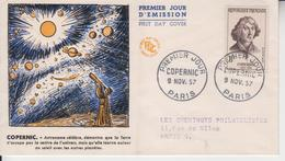 FRANCE 1957 ASTRONOMY NICOLAUS COPERNICUS PLANETS OF SOLAR SYSTEM FDC - Astronomy