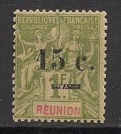 Réunion - 1901 - N°Yv. 55 - 15c Sur 1f Olive - Neuf Luxe ** / MNH / Postfrisch - Ungebraucht