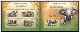 Sao Tome And Principe 2013 Fauna Elephants Klb+s/s MNH - Olifanten