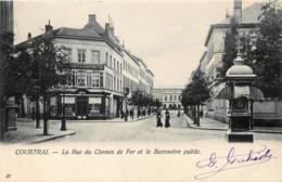 Courtrai - La Rue Du Chemin De Fer Et Le Baromètre Public - Edit. Van Den Heuvel N° 27 - Kortrijk