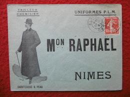 LETTRE ILLUSTREE NIMES MAISON RAPHAEL UNIFORMES P L M CACHET ALAIS SUR SEMEUSE - Marcophilie (Lettres)