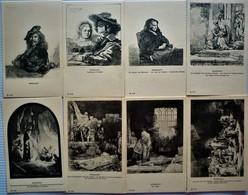 LOT OF 8 DIFFERENT OLD GRAVURE POSTCARDS - REMBRANDT - Postkaarten