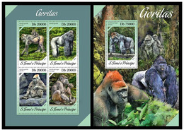 Sao Tome And Principe 2013 Fauna  Monkeys Gorillas Klb+s/s MNH - Gorilles