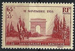 """FR YT 403 """" Anniv. Victoire 11 Nov. 1918 """" 1938 Neuf** - France"""