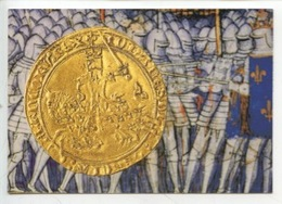 Franc à Cheval 1360 - A L'arrière Plan Détail De La Bataille De Poitiers (cp Vierge Monnaie De Paris) - Monete (rappresentazioni)