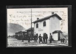 C.P.A. DU TRAMWAY A LA GARE DE CHAMPFROMIER 01 - Autres Communes