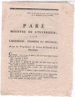 LETTRE 26 10.1793 MINISTRE INTERIEUR  PARE  AUX  LABOUREURS FERMIERS MEUNIERS LOI16 - Documents Historiques