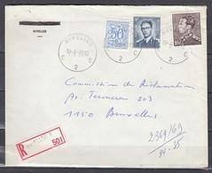 Aangetekende Brief Nivelles C2C Naar Bruxelles - 1936-51 Poortman