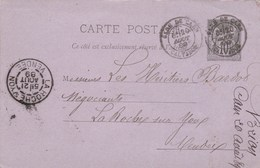 Yvert 89 CP2 Sage Entier Cachet GARE De CAEN Calvados 20/8/1889  à La Roche S Yon Vendée + Convoyeur Caen Au Mans - Entiers Postaux