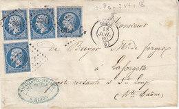 N° 14 X 4 Sur Lettre De Dijon De 1860 - 1849-1876: Klassik